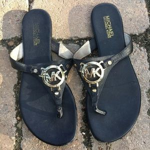 Michael Kors Black Gold Logo Melodie Thong Sandals